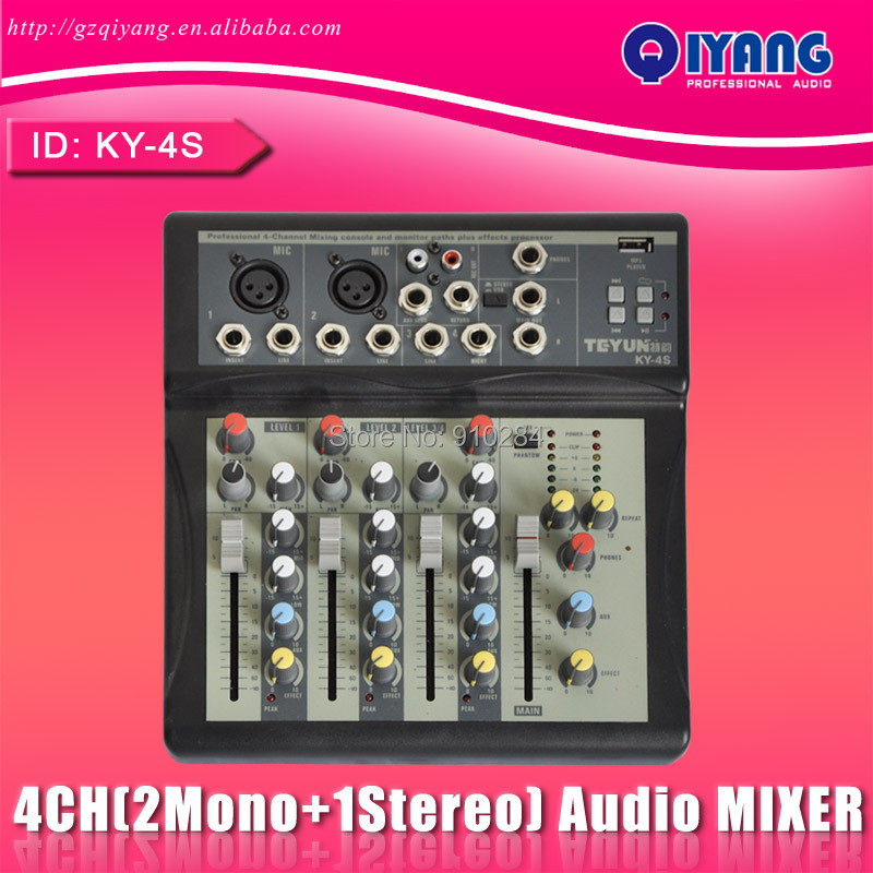 KY-4S 2 Mono + 1 stereo 4 channels USB Professional DJ Audio Mixer Console with 48V phantom factory price professional audio dj mixer professional ct 60s 6 channels