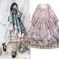 Coelho cor 3 e Alice Lolita Vestido de Cintura Alta das Mulheres de Luxo Meninas Doce Princesa Gola Boneca Impressão OP Lolita vestido S/M/L