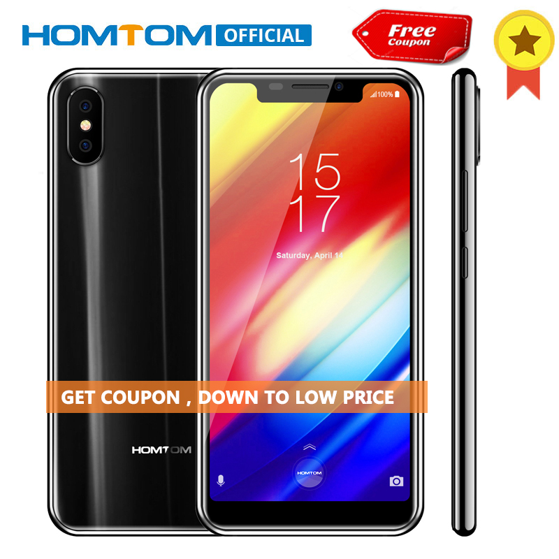 D'origine HOMTOM H10 5.85 pouce Android 8.1 4 gb + 64 gb Mobile Téléphone Face D'empreintes Digitales ID MTK6750T Octa Core 16MP 8MP OTG Smartphone