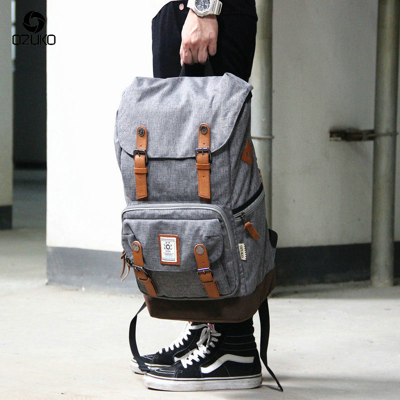 OZUKO 2017 The New High Quality  Large Capacity Bagpack Laptop Bag Casual Men Backpack Fashion Unisex Women backpack Travel Bags high quality casual men bag