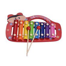 Красочные милые 8 примечаний ксилофон Glockenspiel с 2 молотки Развивающие игрушки Музыкальный ударный инструмент подарок для детей