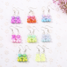 1pair Fashion Craft Resin colorful gummy bear Drop Earrings For Women Japan/Korean Jewelry Wholesale
