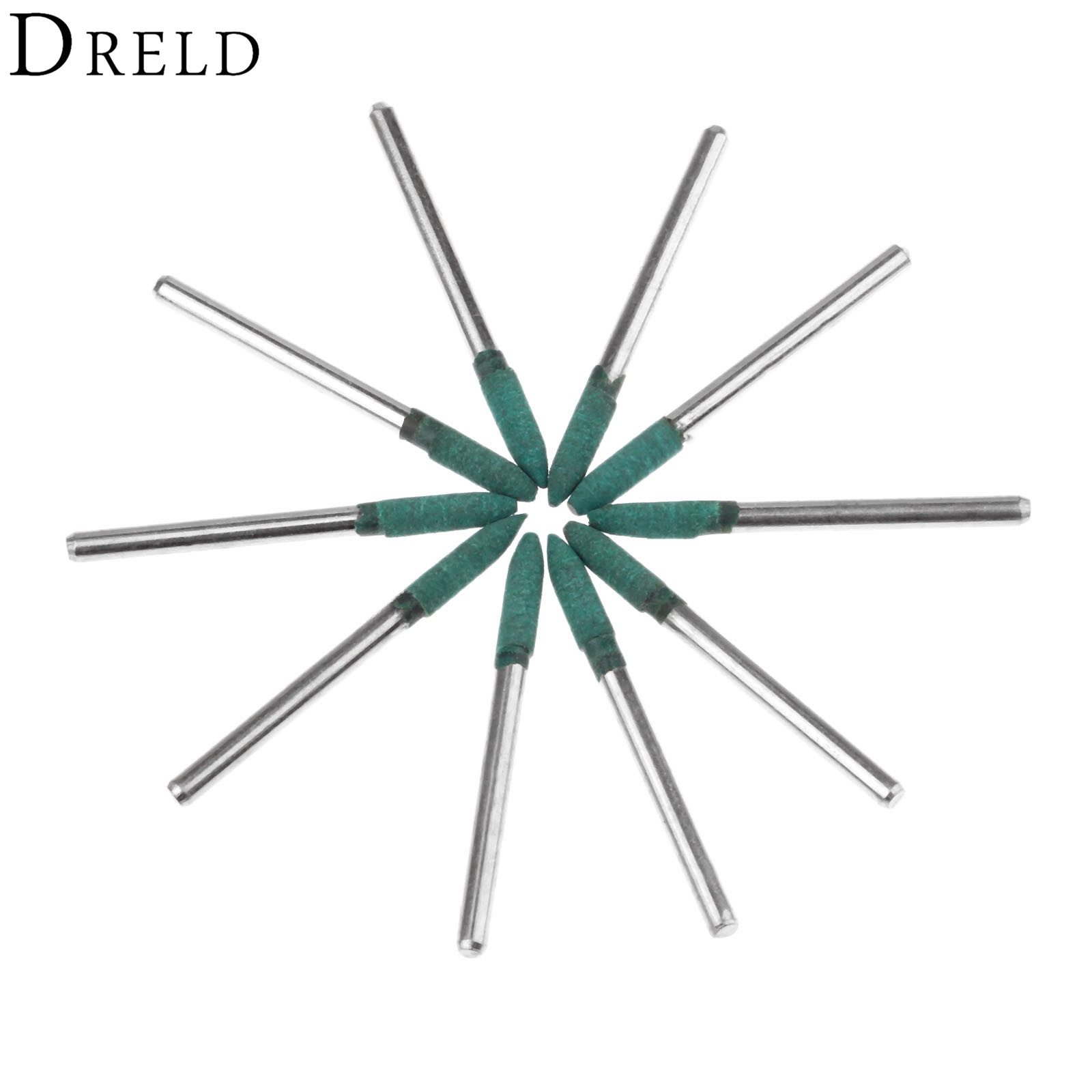 DRELD 10Pcs Dremel Accessories 4mm Rubber Grinding Head Metal Surface Mould Buffing Polishing Wheel For Rotary Tool 3mm Shank