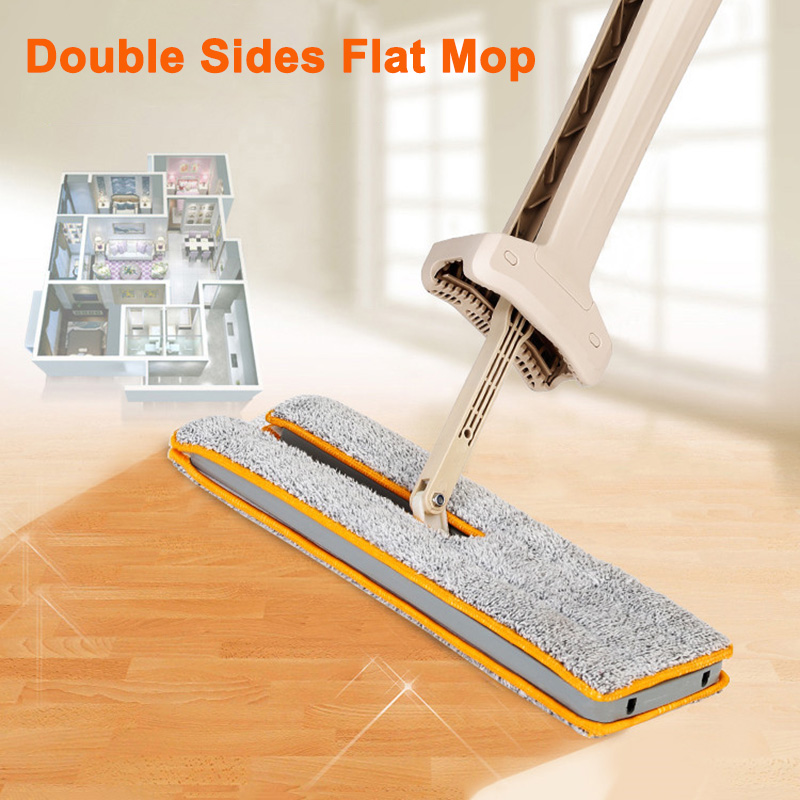 Double Sided Mop Self Wringing Flat 360 Spin Lazy Mop Floor Cleaning Hardwood Floor Kitchen YU-Home image