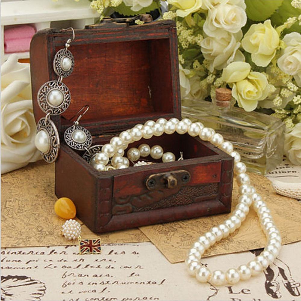 4pcs Retro Small Wood Lock Box Storage Jewelry Bracelet ...