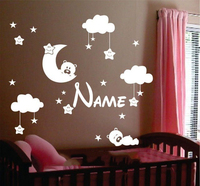 Personalisierte Name Mond Wolken Und Sterne Kinderzimmer Dekor Kinder Aufkleber Aufkleber Benutzerdefinierte Lächelndes Wandkunst Aufkleber Aufkleber