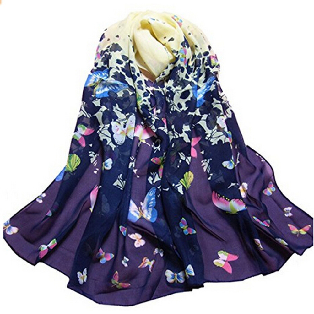 1PC 2019 HOT SALE Women Lady Spring Autumn Warm Soft Long Voile Neck Large   Scarf     Wrap   Shawl Stole Floral Chiffon Scarve Pashmina