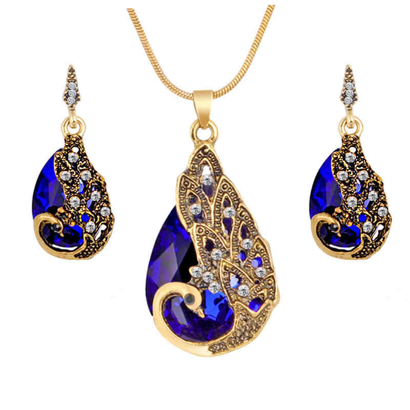 Hesiod New Vintage Women Elegant Peacock Waterdrop Rhinestone Pendant Necklace Earrings Crystal Jewelry Set Wedding Jewlery