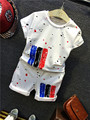 2016 Boy Girls Summer casual paint dot T-shirt + shorts Suit  Clothes Set Boys Sports suits comfort Children Clothing 20W