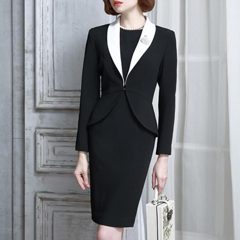 79568872c11 2018 Autumn Winter Womens Dress Suit Set Vintage Elegant Office Formal  Business Wear For Ladies With