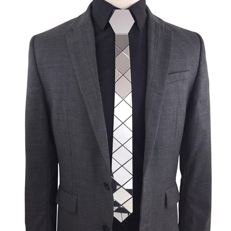 Bling Silver Mirror Acrylic Fashion Luxury Neckties Glossy Silk Skinny Ties Men Women Necktlace Wedding Party