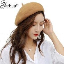 [YARBUU] 2018 New Wool Cashmere Beret Female Winter Hats For Women Lady Girl Berets Hat Bone Tocas Painter
