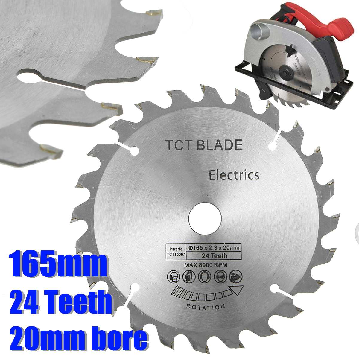 165mm 24 Teeth Saw Blade HSS 20mm Bore Cutting Disc Circular Saw Blade With Reduction Rings