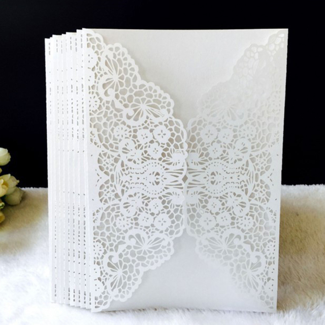 Simple Gold Red White Laser Cut Wedding Invitations Card 10pcs set Elegant Wedding Lace Favor Envelopes Event Party Decoration