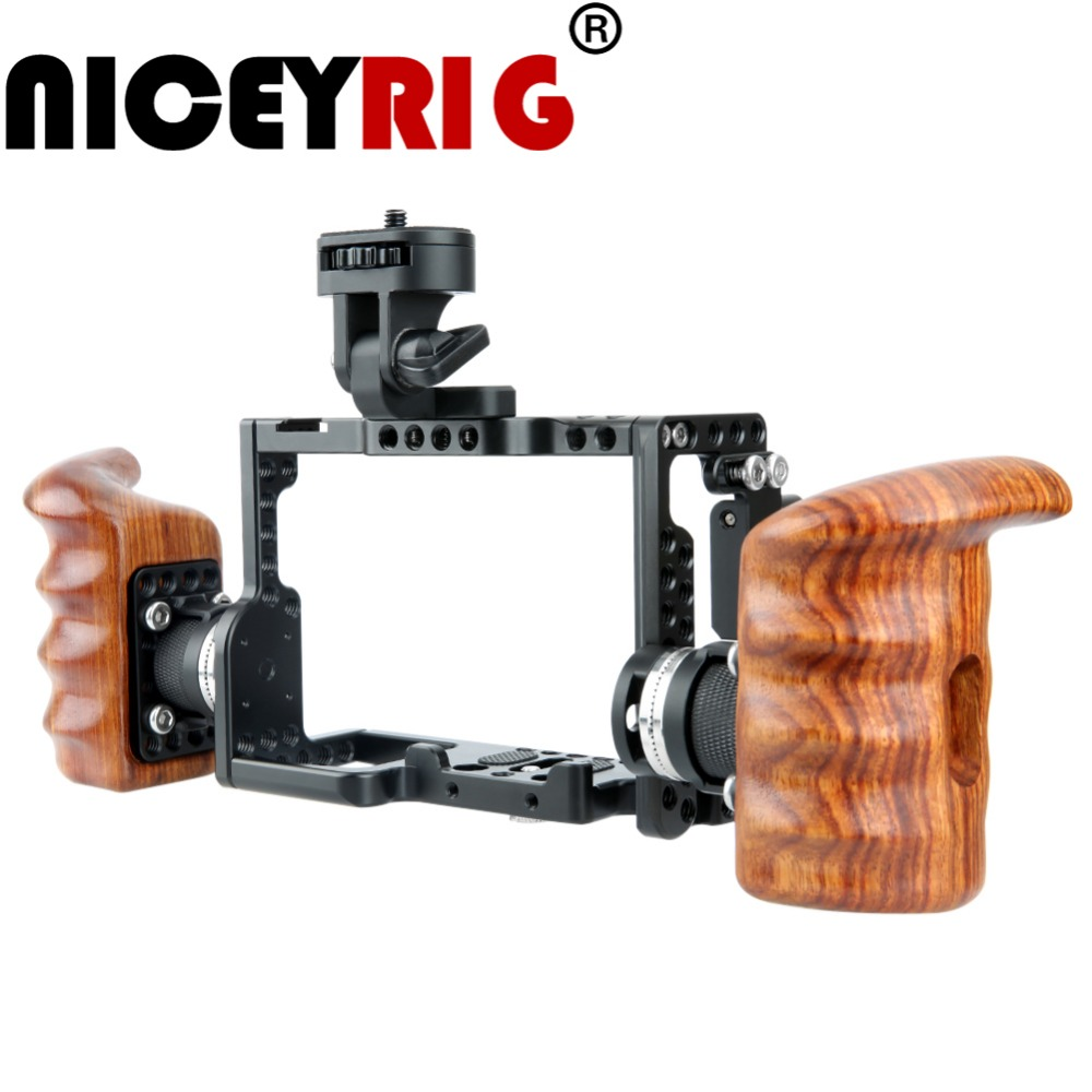 лучшая цена NICEYRIG for SONY A7RIII A7SII A7II A7MIII A9 Camera Cage Kit with Wooden Handle Grip Wood Hand HDMI Cable Clamp ARRI Rosette