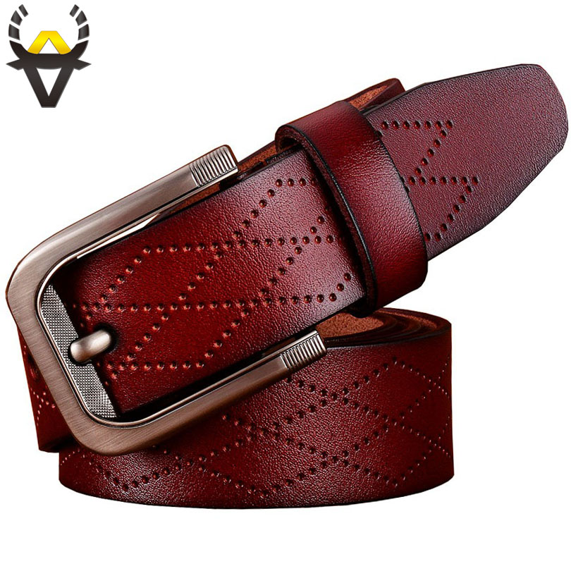 Fashion Geometric Genuine leather   belts   for men Luxury Pin buckle wide   belt   man High quality second layer Cowskin strap male
