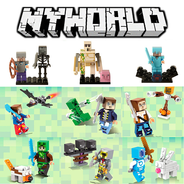 Lensple Única Venda Minecrafted Estilo Zombie Steve figura DIY Building Blocks Brinquedos Compatível Legoings Minecrafted Modelo