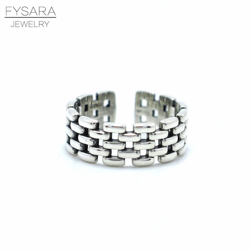 FYSARA Vintage Jewelry 925 Sterling Silver Ring Belt Buckle Hollow Intersect Personality Ring Men Women Lattice Ring