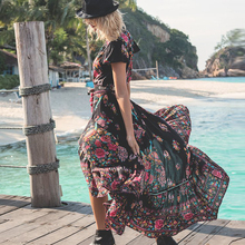 New Women Summer Boho Beach Maxi Dress Sexy V Neck Vintage Print Long Dresses Casual Sundress Dress vestidos