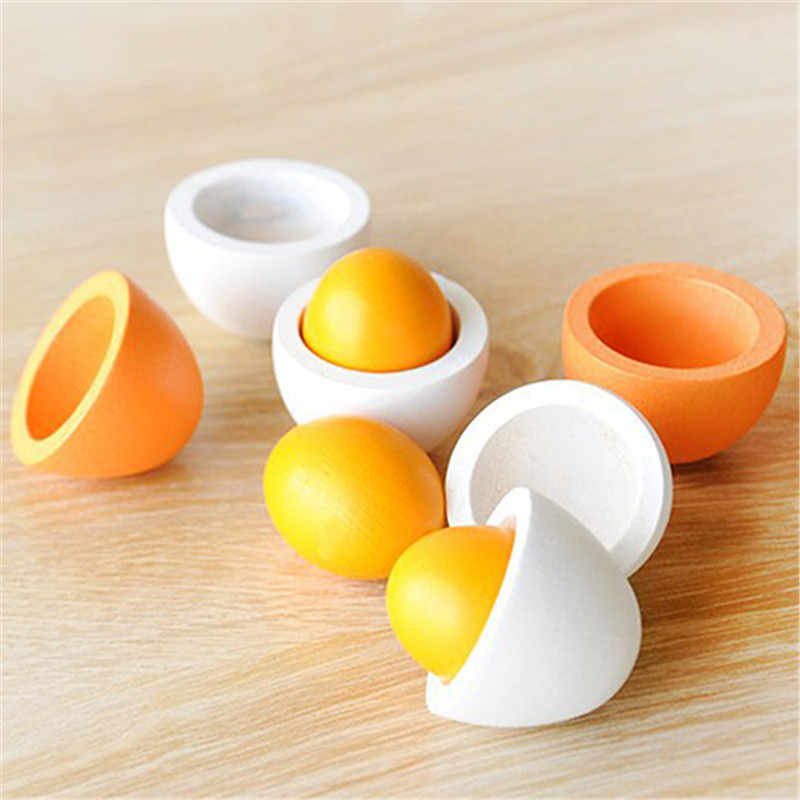 Juego de 6 unids/lote de huevos de madera para niños, juguetes educativos para el desarrollo de la inteligencia
