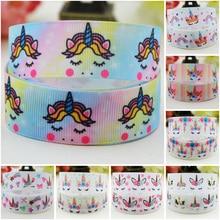 7/8 (22mm) Sleep Unicorn Cartoon Character printed Grosgrain Ribbon party decoration satin ribbons OEM 10 Yards Mul095