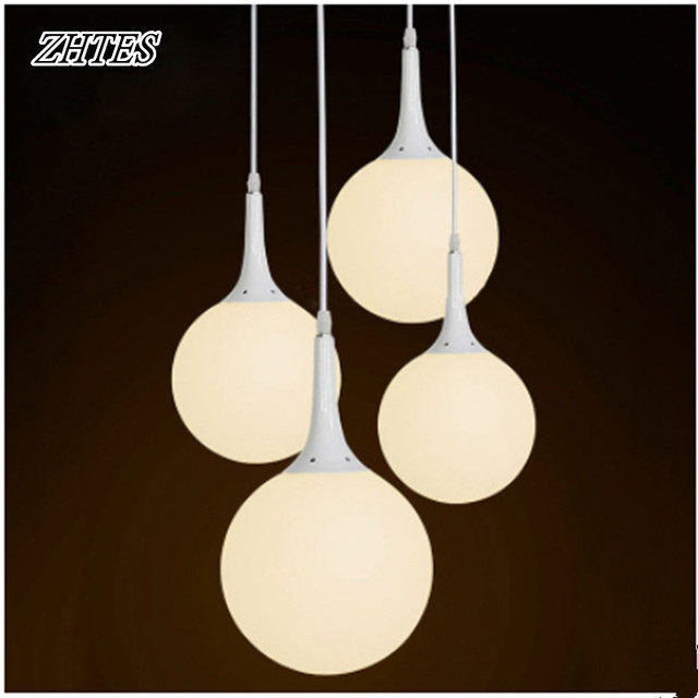 Glaskugel Mit Led Beleuchtung | Weissen Glaskugel Led Pendelleuchte Milchig Weisse Lichter Modernen