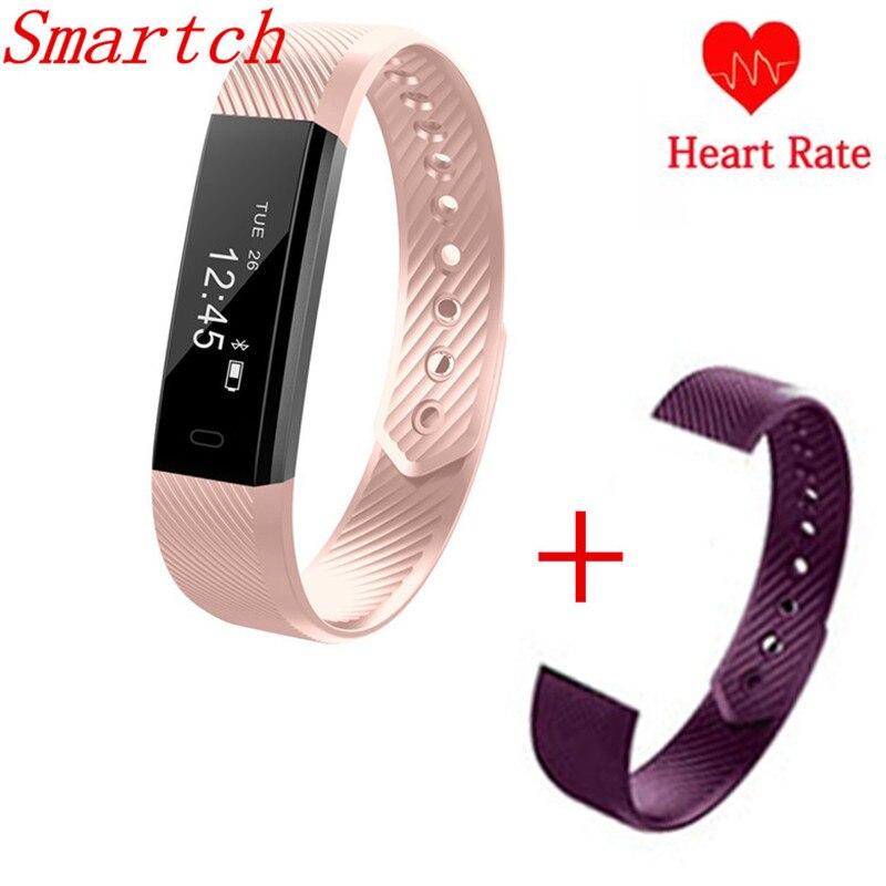 Smartch Smart Band ID115 HR Bluetooth Armband Pulsmesser Fitness Tracker Schrittzähler Armband Für Telefon pk FitBits mi 2