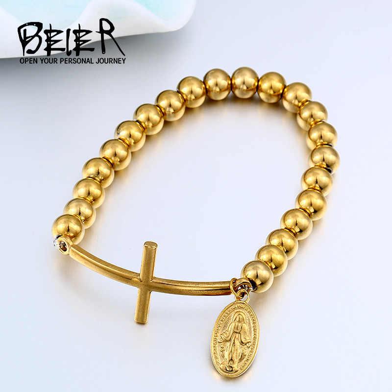 BEIER Layer jezus chrystus wisiorek krzyż bransoletka z koralików i BangleBoys mężczyzna damski łańcuszek ze stali nierdzewnej biżuteria akcesoria BC8-048