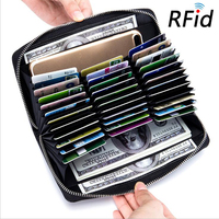 Anti RFID Blocking Credit Card Holder Woman Leather High Capcity Cardholder RFID Covers For Credit Cards