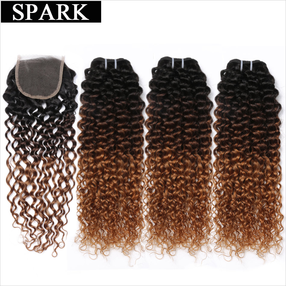 Ombre SPARK Brazilian Hair Weave Bundles With Closure Afro Kinky Curly 4 or 3 Bundles With