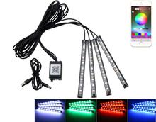 цены на Car 12v led app foot lamp 9smd ambient light voice control music lamp phone control lamp 5050 9 X 4 SMD Car neon light car  в интернет-магазинах