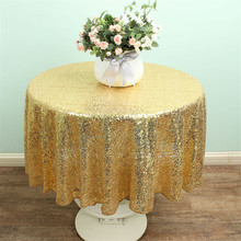 Sequin Tablecloth 50 Inches Round Gold Sequin Tablecloth Wedding Decoration