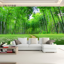 цена на Large murals 3D TV background wall living room three-dimensional bamboo forest path personality wallpaper bedroom bamboo pattern