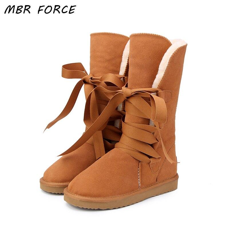 MBR FORCE Australie Classique Haute Neige bottes Femmes bottes Véritable peau de Vache En Cuir lacent Longue bottes De Fourrure Chaud Bottes D'hiver