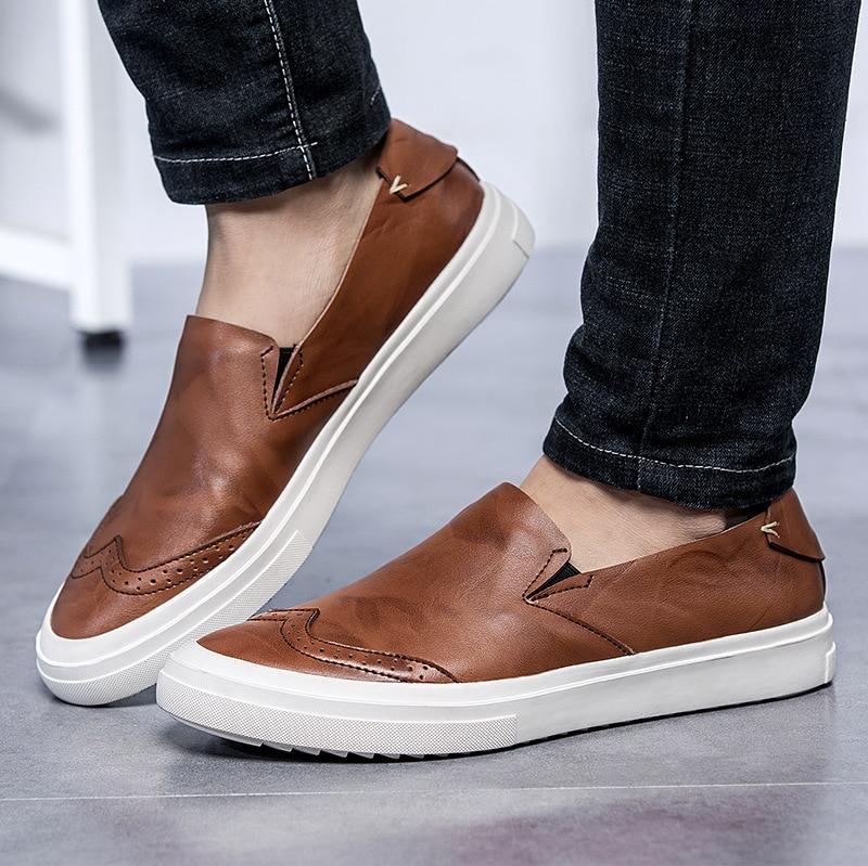 En La Chaussures Main Confortable Décontractée Cuir Bullock Conduite De Printemps Glissement Appartements À Hommes Véritable Noir marron Mocassins Respirant Sur Faits wO8knXZN0P
