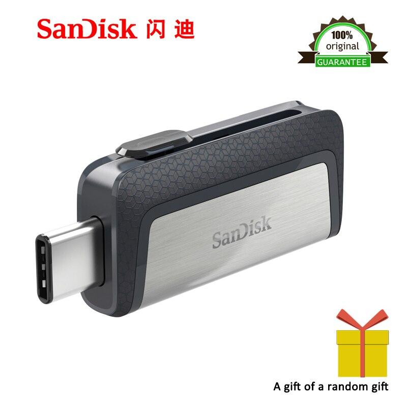 100% original novo sandisk 128 gb sdddc2 extrema alta velocidade tipo-c usb3.1 duplo otg usb pen drive 64 gb drives 32gb16gb 130 m/s