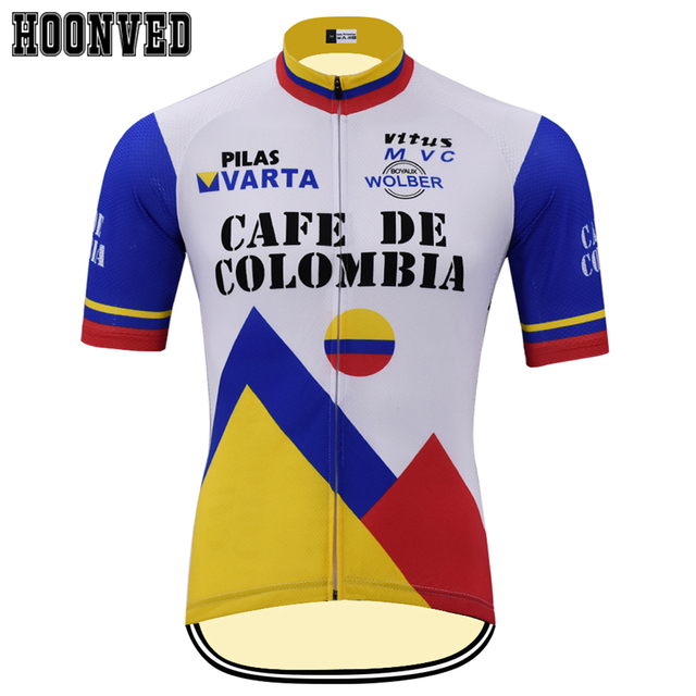 Tour de France 1986 Café da colômbia Equipe Pro estilo Retro camisa de ciclismo de verão de manga Curta roupas Bicicleta roupas camisola
