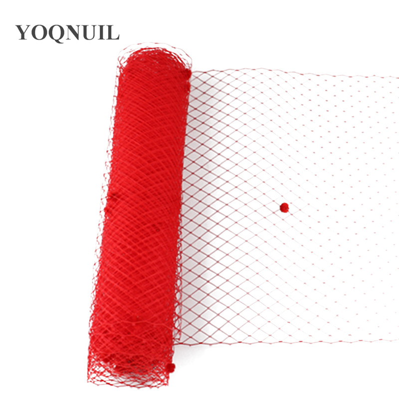 25CM Red Dot Birdcage Veil Bridal Netting Hair Accessory Millinery Veils Veilling DIY Fabric Fascinator Base Material Headpiece