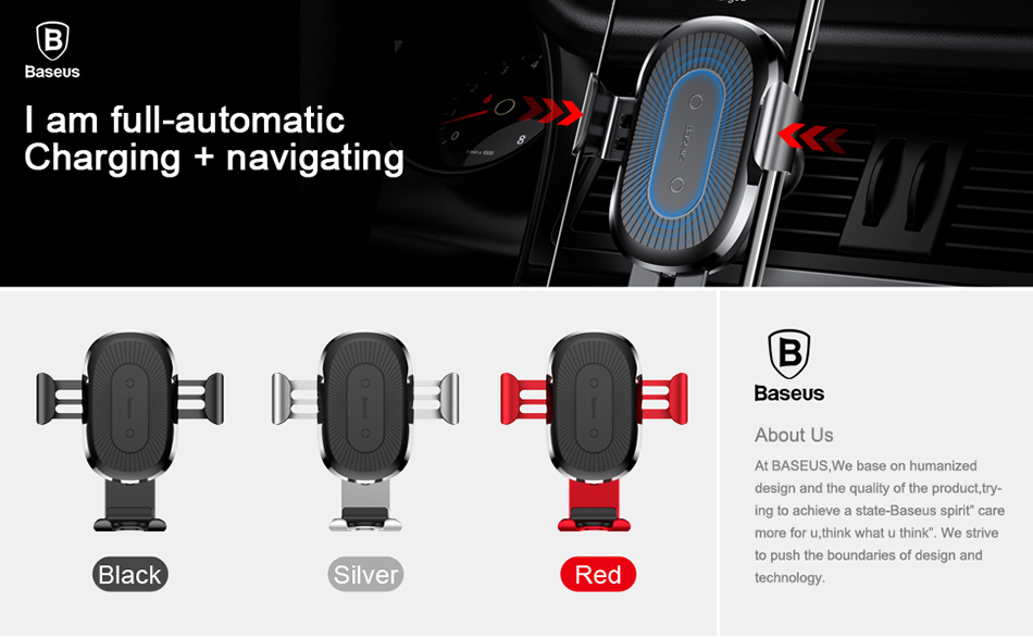 Machine - Baseus 10W QI Wireless Charger Car Holder For iPhone X Plus Samsung S8 S9 Fast Car Mount Wireless