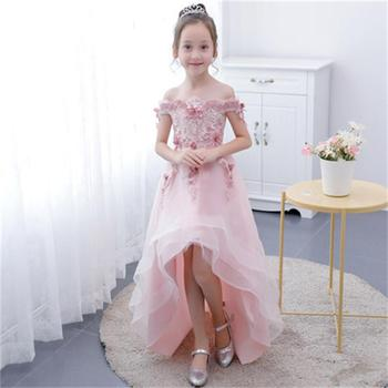 Children's dress princess dress pink flower girl piano performance costume catwalk host dress long section