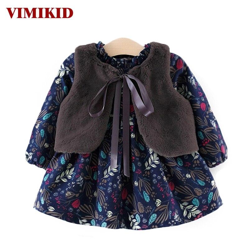 VIMIKID Baby Girls Dress 2017 Autumn and Winter Girls Thicken Plus Velvet Long Sleeve Down Dress + Hair Shawl Kids Clothes Dress