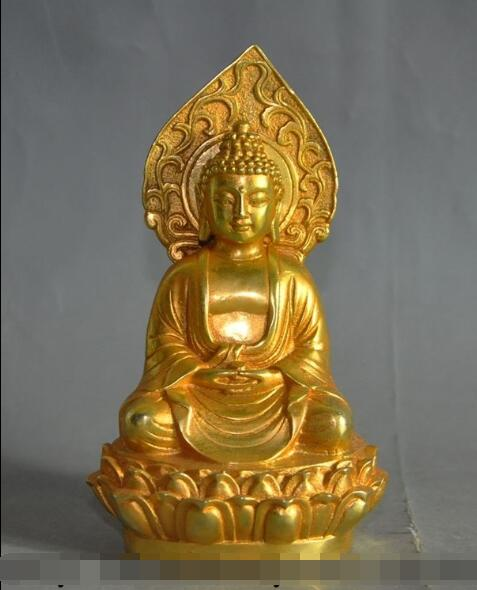 S3458 chinese buddhism bronze gilt seat lotus sakyamuni Shakyamuni buddha statueS3458 chinese buddhism bronze gilt seat lotus sakyamuni Shakyamuni buddha statue