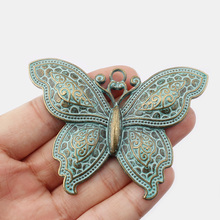 1pcs Fashion Jewelry Antique Bronze Large Butterfly 71X52mm Charm Pendant Making
