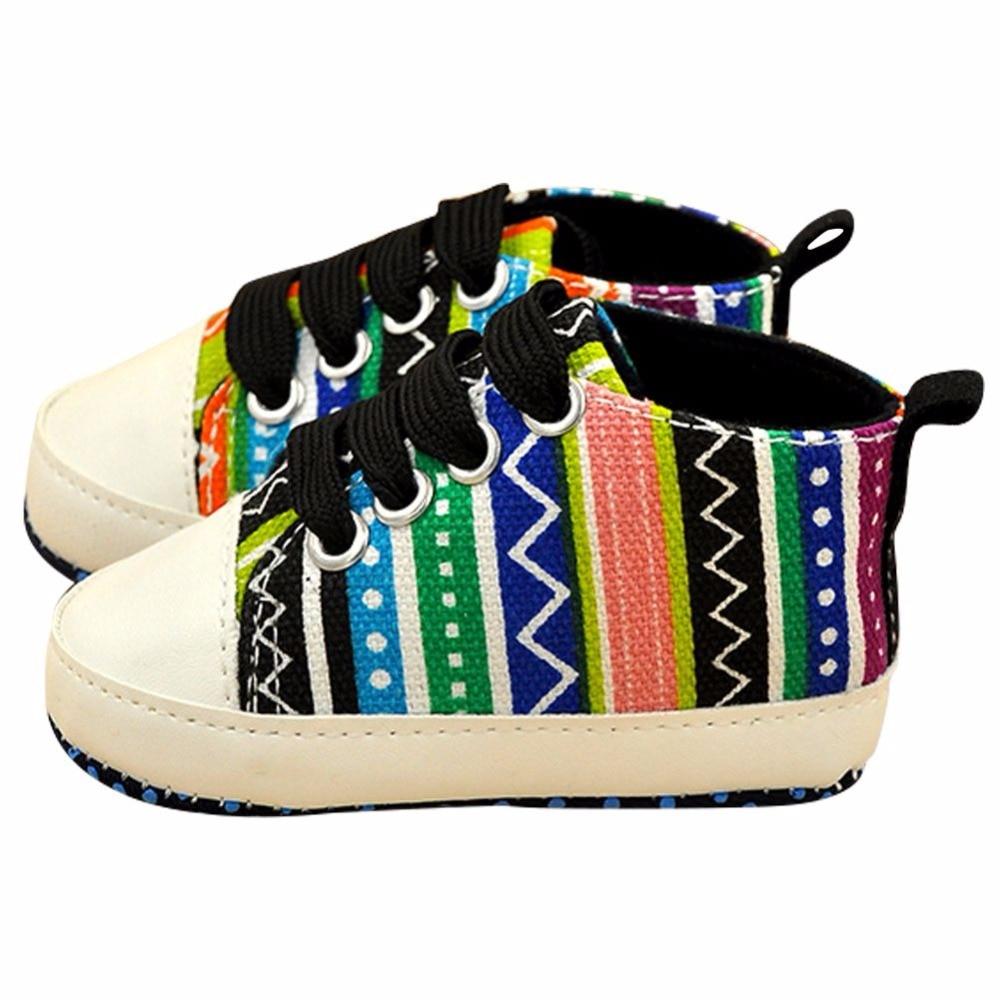 I bambini Bambino Ragazzo Ragazza Morbida Suola Scarpe di Cotone Carvan  Sneakers Lacci Scarpe Presepe d24aa17b80b
