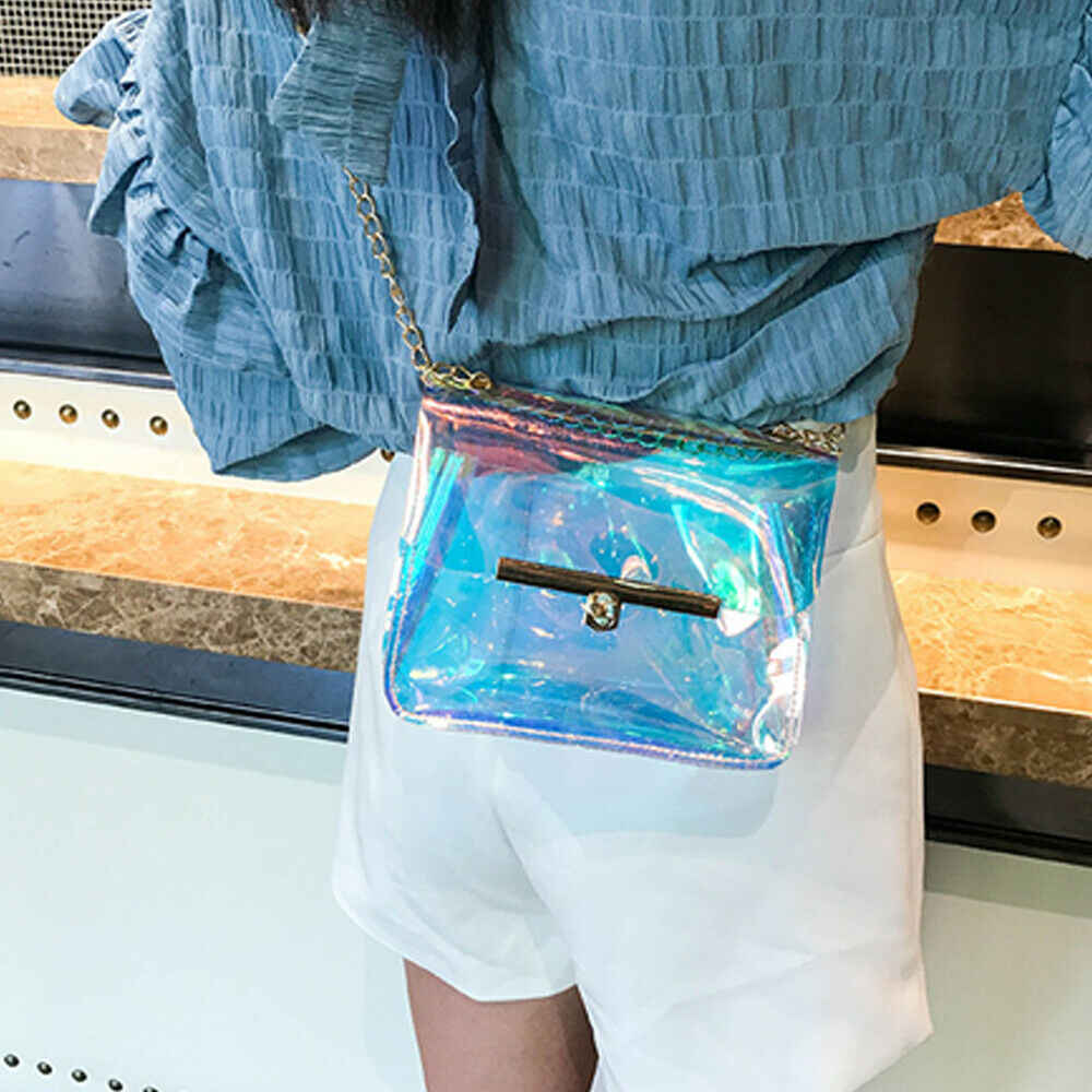 Kadın lazer holografik çanta şeffaf şeffaf küçük Tote Hologram çanta çanta saklama poşetleri