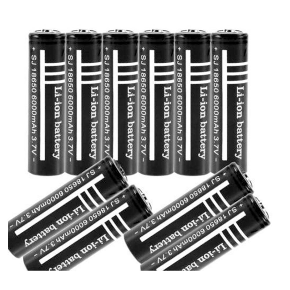 10Pcs/lot High Quality Lithium <font><b>Li</b></font> <font><b>ion</b></font> <font><b>Rechargeable</b></font> <font><b>Battery</b></font> 18650 <font><b>Batteries</b></font> <font><b>3.7V</b></font> <font><b>6000mAh</b></font> for Flashlight Torch Free shipping image