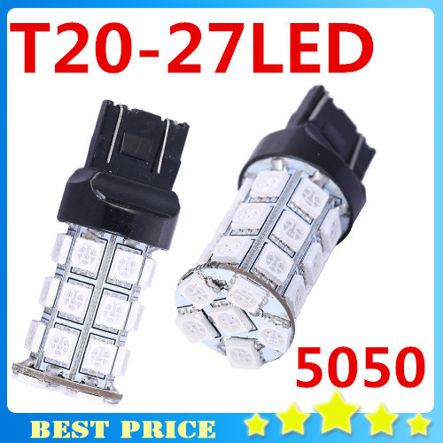 <font><b>T20</b></font> 27 SMD 5050 <font><b>LED</b></font> Car Brake <font><b>Rear</b></font> Stop Light <font><b>Bulbs</b></font> Lamp WY21W W21 7443 360 Lighting Car Styling image