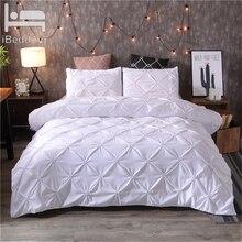 3 ピース/セット高級布団カバーセットクイーンキングサイズピンチプリーツ簡単な寝具セット布団カバー枕ケース