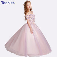 Pink Flower Fairy Princess Dresses Girls Wedding Petal Sleeve Floral Shoulderless Ball Gown Lace Prom Dress