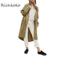 Richkoko 2017 Summer Brief Women Coat Solid Color Casual Drawstring Loose Trench Coat Female Streetwear Hooded